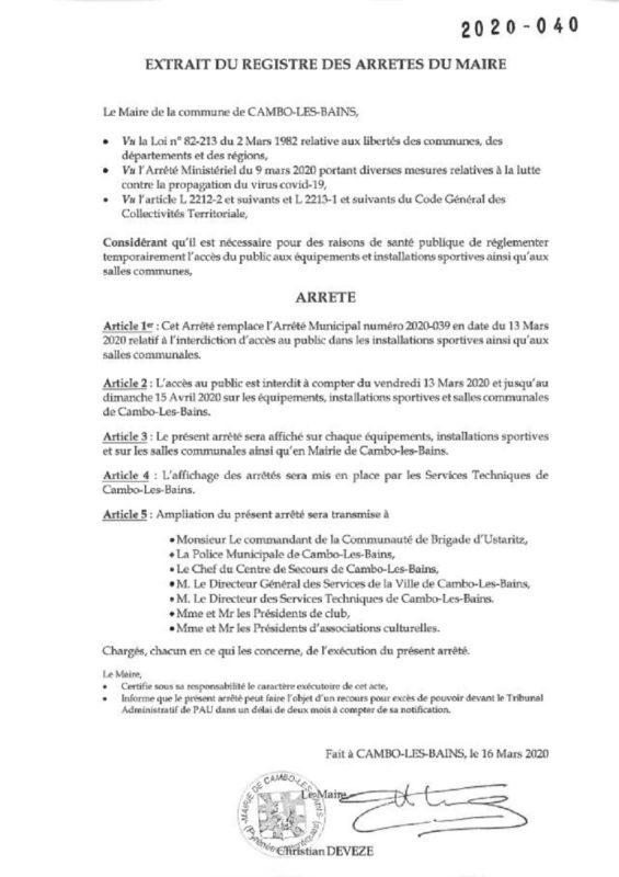 Interdiction D'acces Installation Sportive Et Salle De Réunion Suite Covid 19